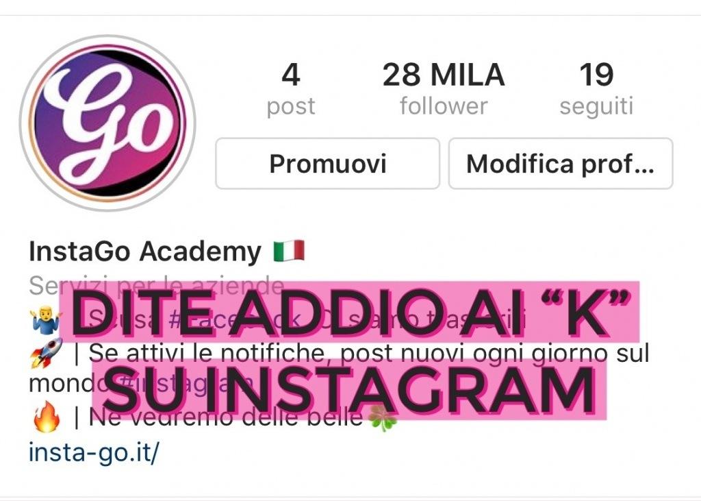 addio ai k su instagram