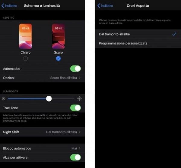 Modalità scura per iOS
