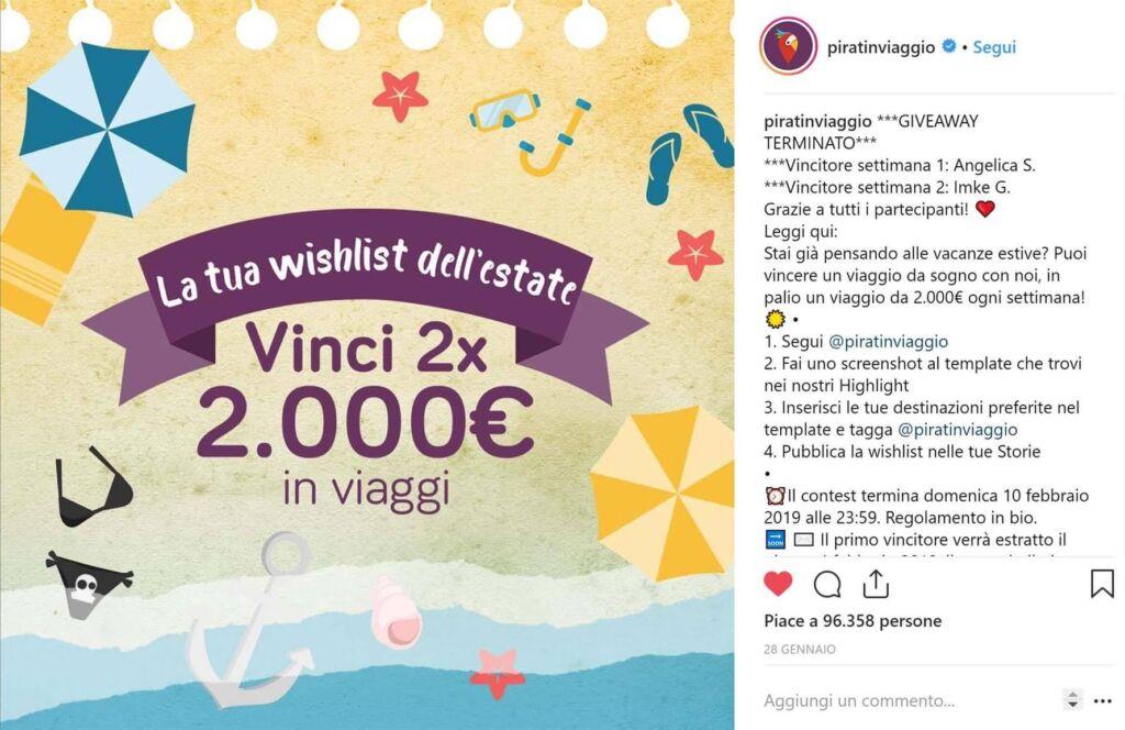 Crescere su Instagram con giveaway